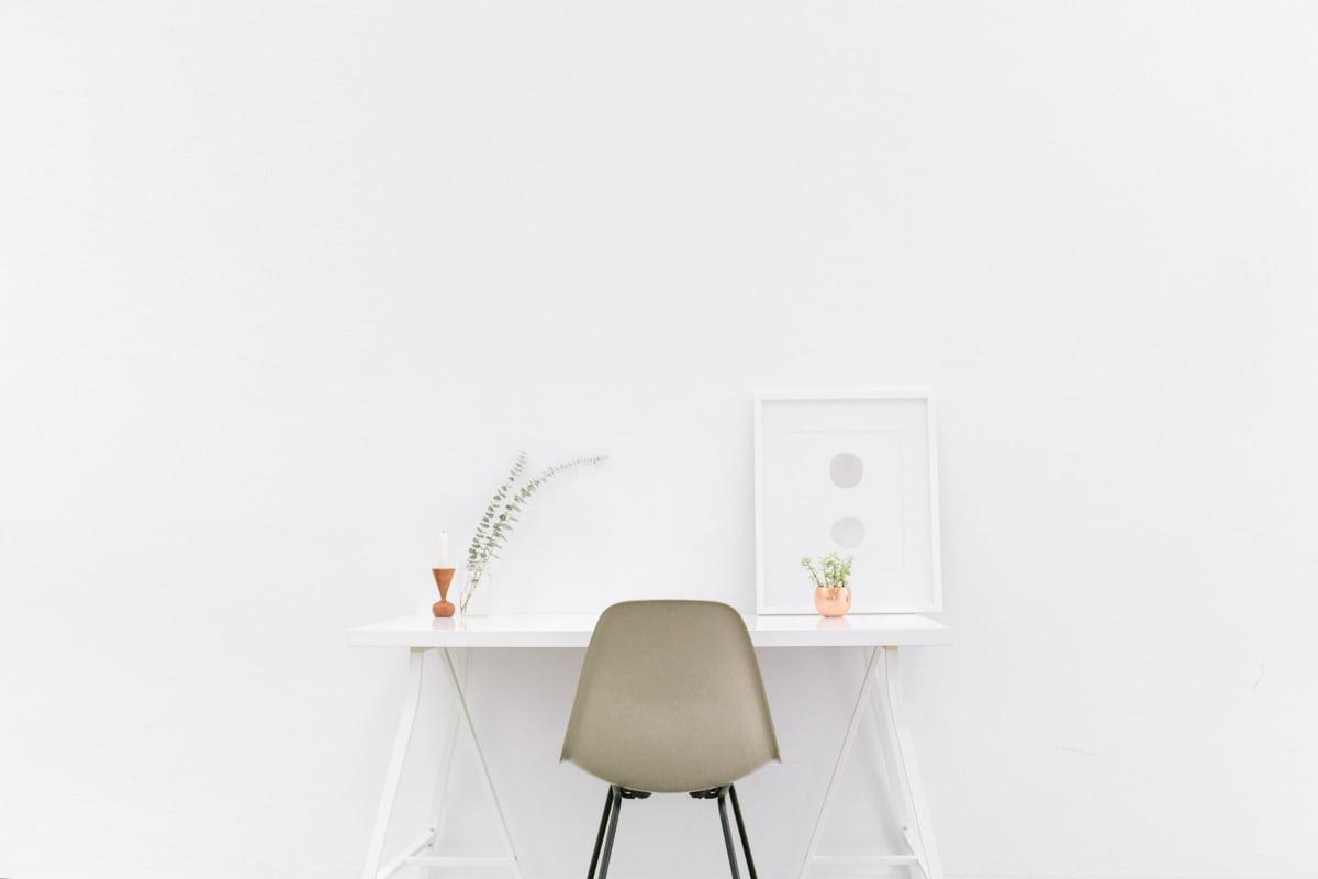 Desk in empty room